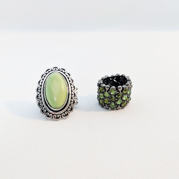 Jewelry - 💥3 for $25💥 Green & Silver Stretch Fashion Rings